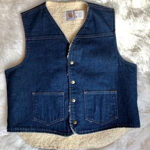 CARHARTT.Vintage Denim & Sherpa Vest . Size Large